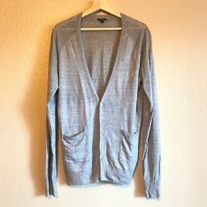 Theory Linen V-neck Button-Down Cardigan Sweater